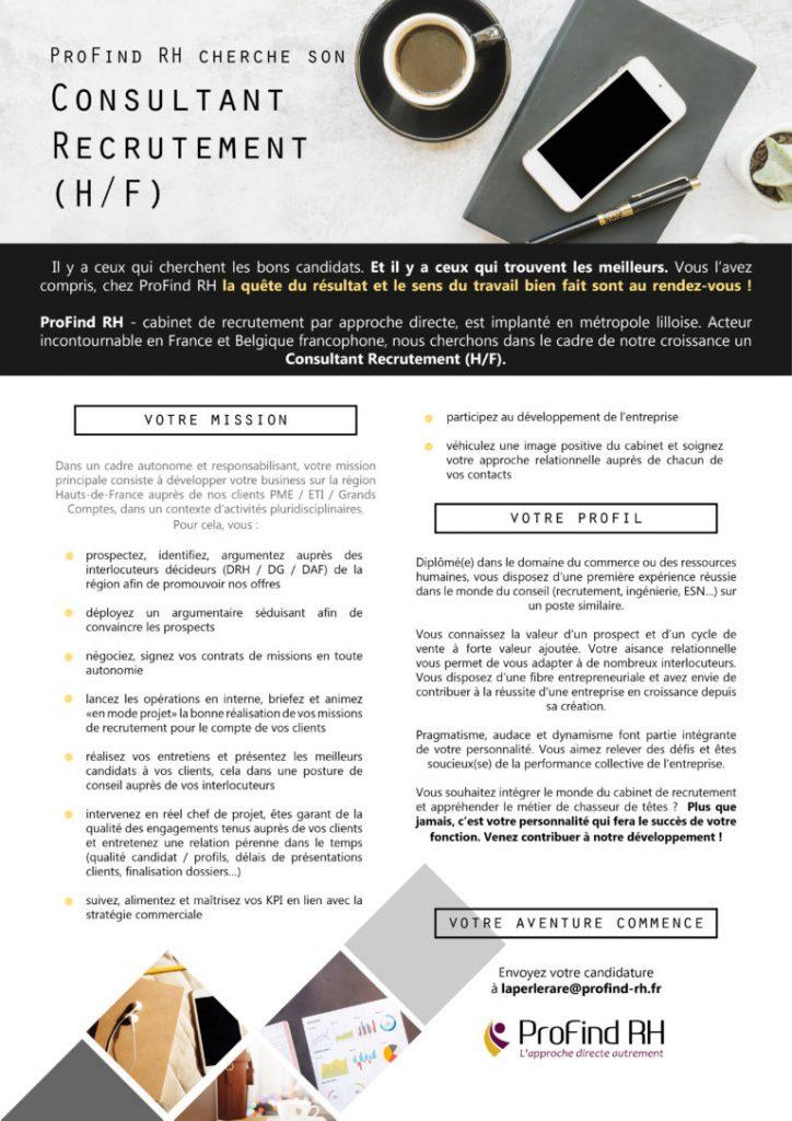 Profind rh offre d emploi consultant recrutement h f - Cabinet de recrutement lille ...